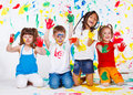 Painted children Stock Image