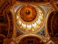 Painted on Christian themes from Bible stories, the dome of St. Isaac`s Cathedral in the city of St. Petersburg Royalty Free Stock Photo