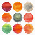 Painted circles set of watercolor handmade painting illustration Royalty Free Stock Image