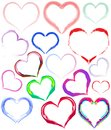 Painted colorful hearts Stock Photography