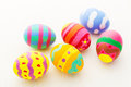 Painted colourful easter egg colorful close up Royalty Free Stock Images