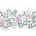 Painted daisy pattern in a repeat with swirls and curly leaves Royalty Free Stock Photo