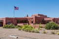 Painted desert inn american flag flying over the at petrified forest national park Stock Images