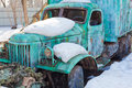 Painted dirty rusty old broken truck paintball field Royalty Free Stock Image