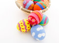 Painted easter egg in basket the Stock Photo