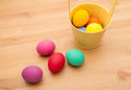 Painted easter egg in bucket the Royalty Free Stock Photography