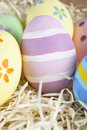 Painted Easter Egg Nest Stock Photo