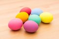 Painted easter egg over wooden background Royalty Free Stock Image