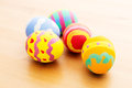Painted easter egg over wooden background Royalty Free Stock Photography