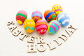 Painted easter egg with wooden letter Royalty Free Stock Photography