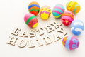 Painted easter egg with wooden text Stock Photography