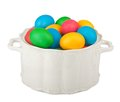 Painted Easter eggs in beautiful chinaware Stock Images