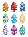 Painted easter eggs isolated on white in vector Stock Photo