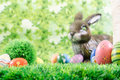 Painted Easter eggs scene Royalty Free Stock Photos