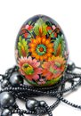 Painted Easter eggs witn string of beads Stock Images