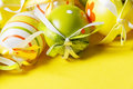 Painted easter eggs on a yellow background Stock Photo