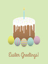Painted eggs with easter cake. Easter greetings