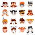 Painted faces icons set face paint for children vector illustration greasepaint for kids flat symbols makeup for children design Royalty Free Stock Image