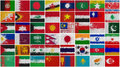 Painted Flags of  Asia Stock Photo