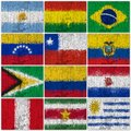 Painted Flags of South America Stock Photo