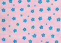 Painted floral background scan of original hand pattern with blue flowers on pink Stock Images