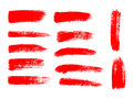 Painted grunge stripes set. Red  labels, background Royalty Free Stock Photo