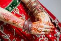 The painted henna on hand for the special days of Islam. Royalty Free Stock Photo