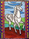 Painted horse white on paper Royalty Free Stock Images