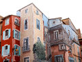 Painted houses in france beautiful Royalty Free Stock Photography