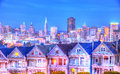 The painted ladies in alamo square san francisco and skyline at evening Stock Photo