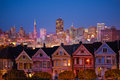 Painted ladies and illuminated San Francisco Royalty Free Stock Photo