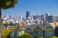 The Painted Ladies of San Francisco Alamo Square Victorian houses in San Francisco, California during clear sunny day and blue sky Royalty Free Stock Photo