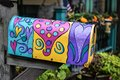 Painted Mailbox with Ultra Violet Hearts Royalty Free Stock Photo