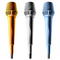 Painted microphone isolated white background gold gray blue Stock Photography