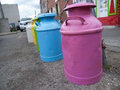 Painted milk jugs line of colourful on the street in toronto ontario canada Stock Photos