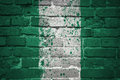 Painted national flag of nigeria on a brick wall Royalty Free Stock Photo