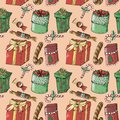 Painted new year seamless pattern