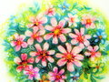 Painted pink flowers bouquet on white paper Royalty Free Stock Photography