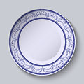 Painted plates with a blue ornament in ethnic style with an empty space in the center vector illustration Royalty Free Stock Photos
