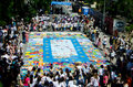 Painted puzzle nicosia cyprus – june children building the biggest in the world for a place in world guinness records on june in Stock Photos
