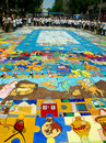 Painted puzzle nicosia cyprus – june children building the biggest in the world for a place in world guinness records on june in Royalty Free Stock Images