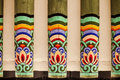 Painted rafters an architectural detail showing a row of in a korean royal palace each beam is with the same pattern Royalty Free Stock Image