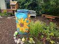 Painted Rain Barrel And Garden