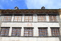 Painted renaissance house with colorful paintings around windows in city prachatice czech republic Royalty Free Stock Photos