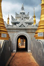 Painted and renovated temple in Inthein, Myanmar Royalty Free Stock Photo