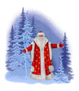 Painted santa claus on a background of a winter forest congratulates all the holiday Stock Photos
