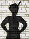 Painted silhouette Peter Pan on wall Royalty Free Stock Photo