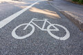 Painted Street Asphalt Bicycle Lane Sign White Safety