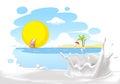 Painted summer beach landscape with milk splash design - vector