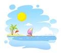Painted summer beach landscape - vector